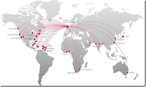 Virgin Atlantic route map