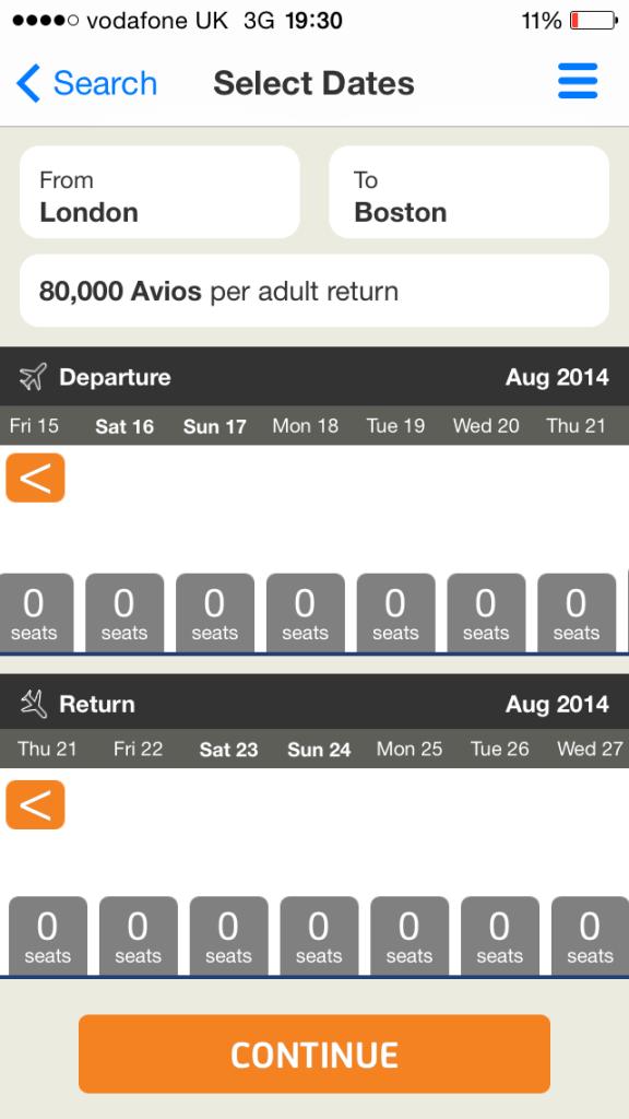 Avios Flight Finder app