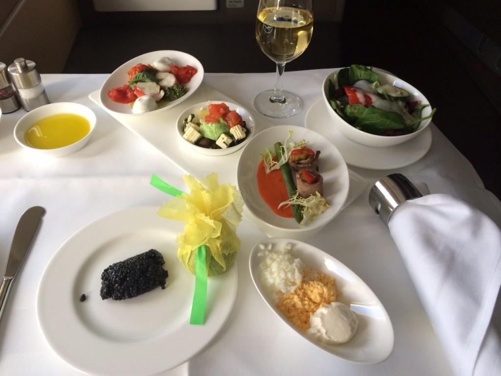 Lufthansa First Class appetiser A340 review