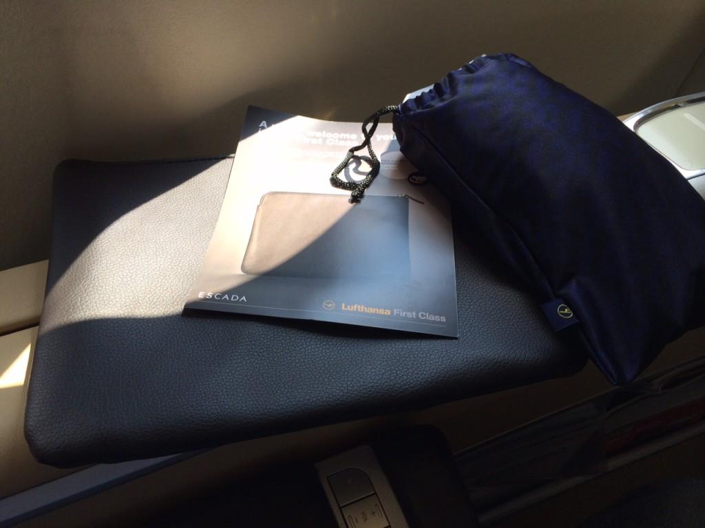 Lufthansa First Class toiletries A340 review