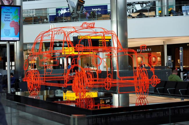 Taxi sculpture Terminal 2 Heathrow