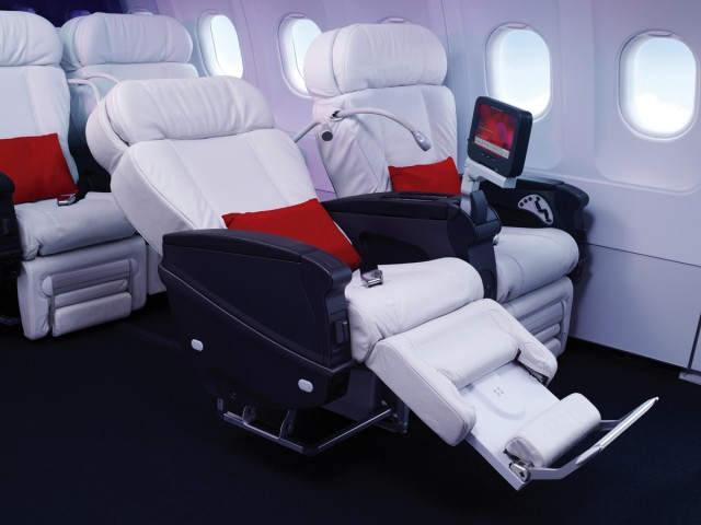 Virgin America First Class reclined  review