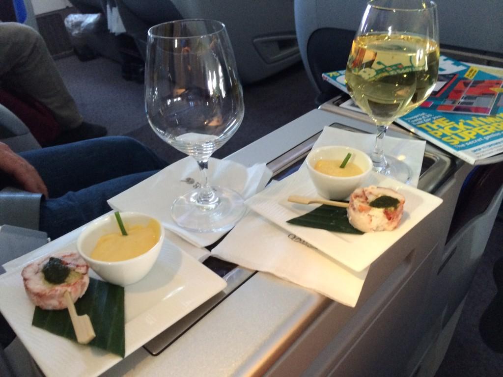 Qatar Airways 777 amuse bouche
