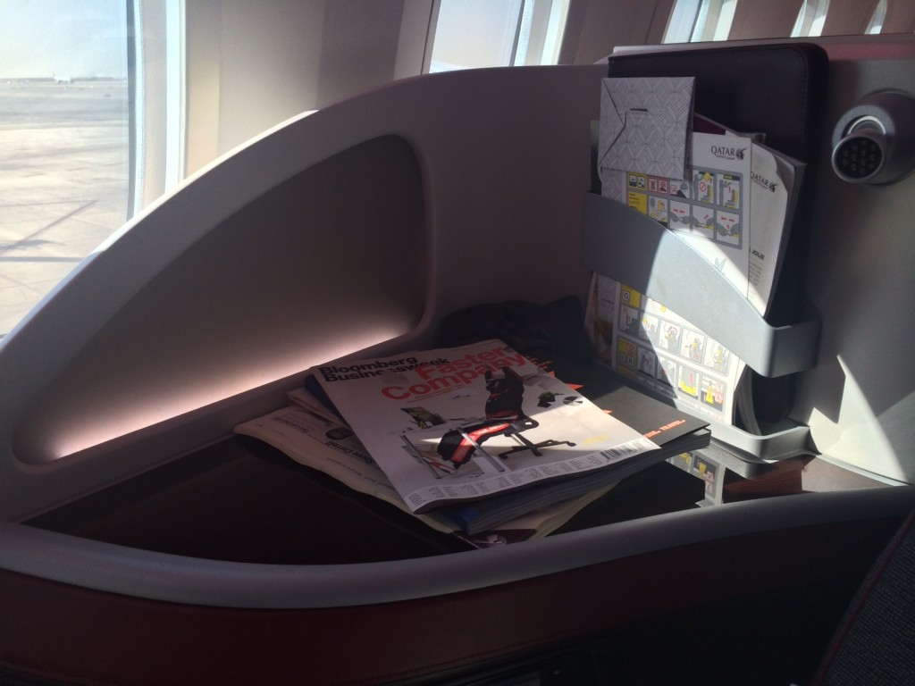 Qatar Airways 787 business class review - storage