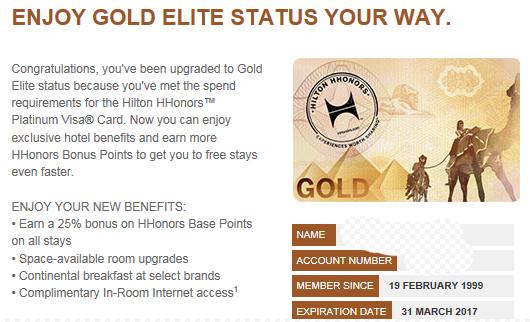 Hilton HHonors Gold