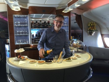 Emirates A380 business class review bar