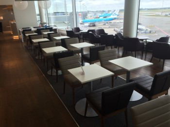 Inside the British Airways lounge at Amsterdam Schiphol