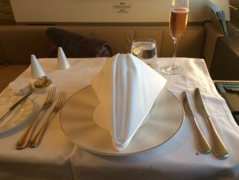 Etihad A380 First Class Apartment food