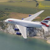 British Airways BA A380 flying