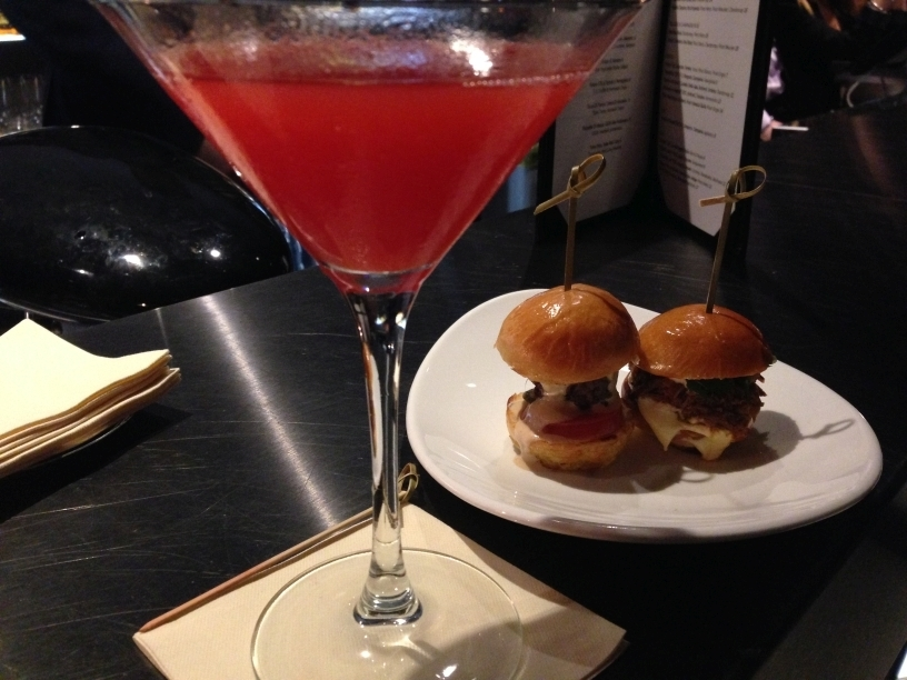 ME Milan STK bar cocktail mini burgers