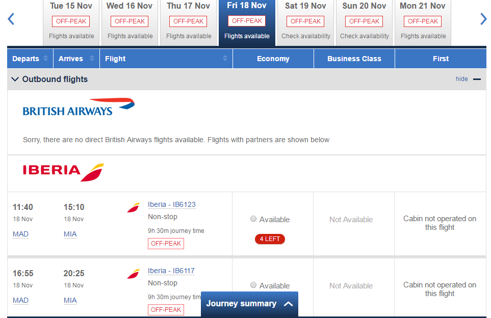 Booking iberia flights with Avios