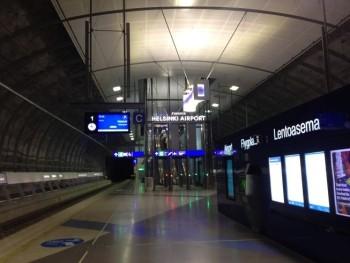 Helsink Airport Train Station ticket machine track