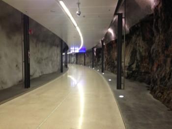Helsinki Aiport Train Station walking tunnel