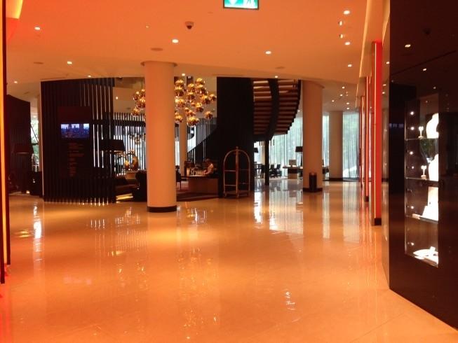 hiltoan tallinn park hotel review reception area and bar