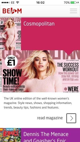 BEAM app selection magazines cosmopolitan