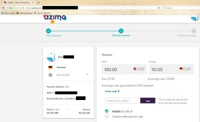 Azimo code valid on transaction page