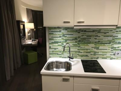 frankfurt element airport hotel room kitchen