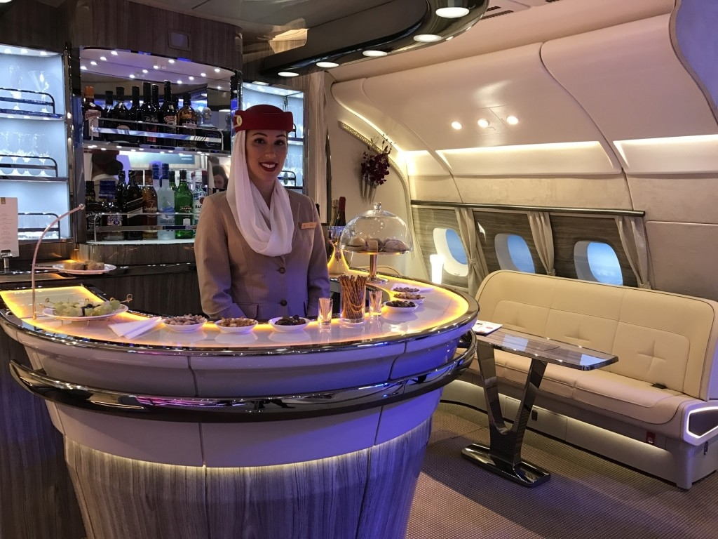 The new Emirates A380 bar revealed