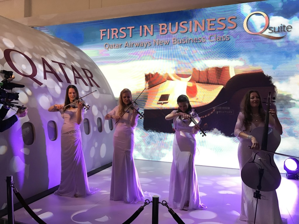 qatar airways new business class seat musicians