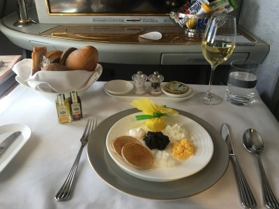 Emirates A380 First Class food drink review