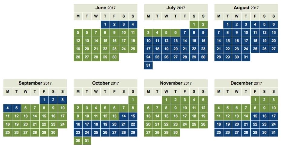 BA Avios off peak calendar 2017