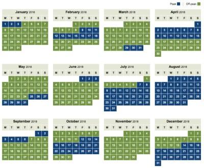 BA Avios off peak calendar 2018
