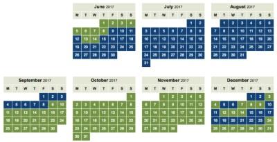 Iberia Avios off peak calendar 2017