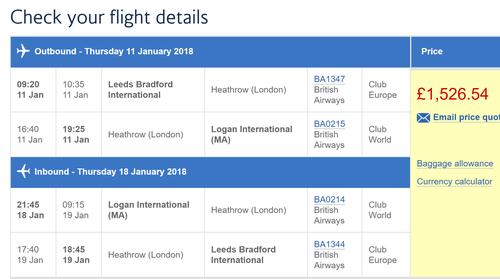 Leeds Bradford bargains on British Airways