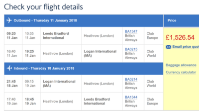 Leeds Bradford bargains on British Airways
