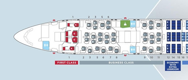 Malaysia Airlines A350 seat map