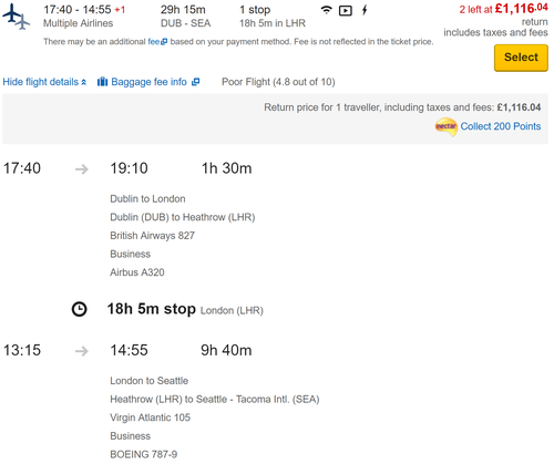 Amazing Virgin fares to the US from Dublin (£1150 Upper