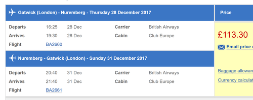 Club Europe British Airways sale