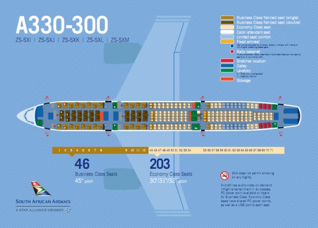SAA A330-300 Seatmap