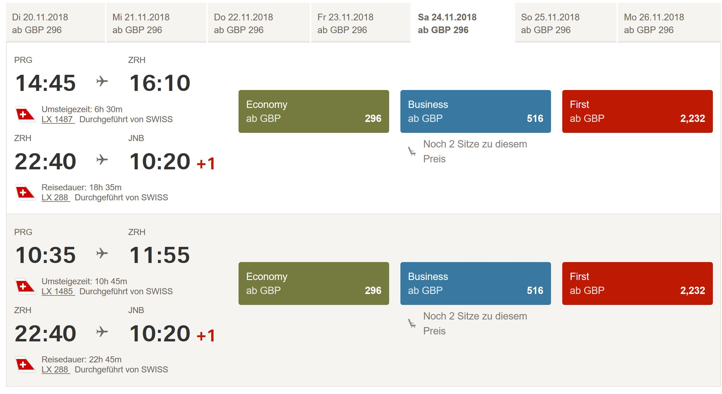 Swiss cheap business flight prague johannesburg
