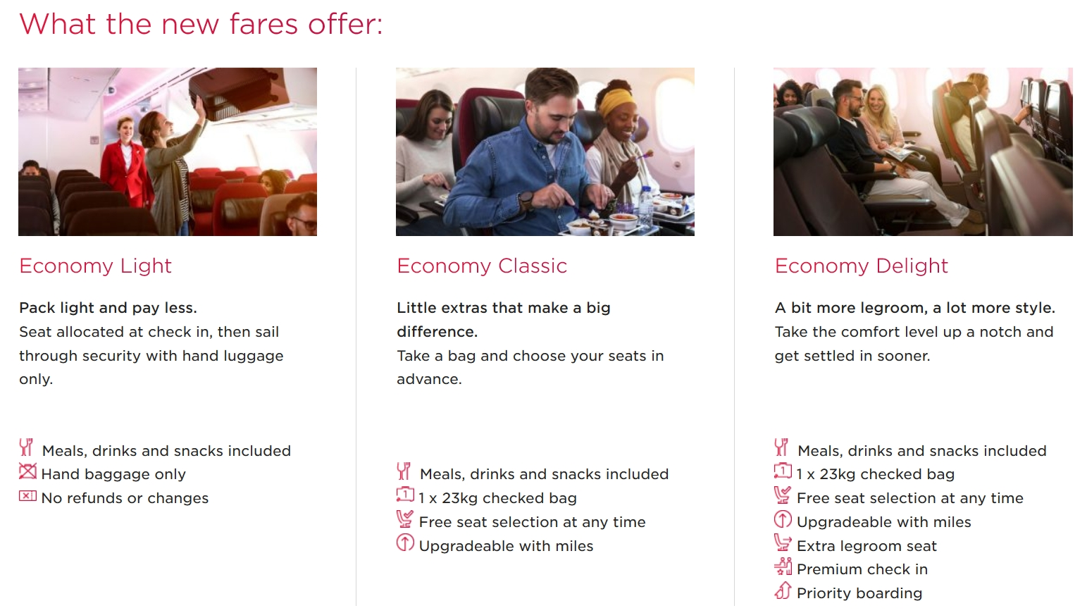 Virgin Atlantic to launch three Economy fares