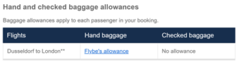 Flybe baggage allowance with Avios