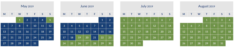British Airways 2019 Peak And Off Peak Avios Calendar