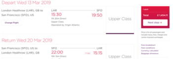 Virgin Atlantic Upper Class US deals