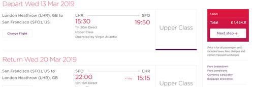Virgin Atlantic Upper Class US deals