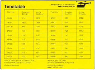 Old Airlink Heathrow Gatwick timetable