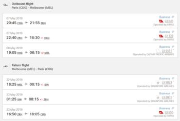 Lufthansa Australia itinerary