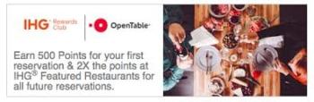 IHG Rewards Club OpenTable restaurant bookings