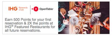 IHG Rewards Club OpenTable restaurant bookings