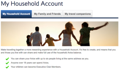 How to open a British Airways household account