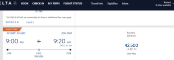Booking Air France with Delta miles