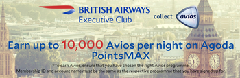 Earning Avios with Agoda PointsMax