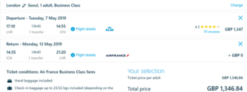 KLM price quote