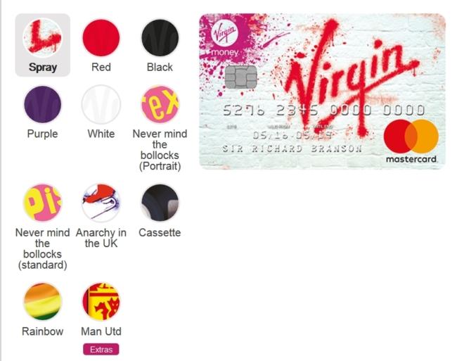 Virgin Money Travel Crredit card choose your card
