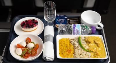 New British Airways World Traveller Plus food