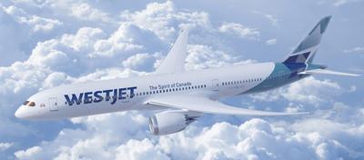 WestJet Boeing 787 flat bed business class London Gatwick Calgary